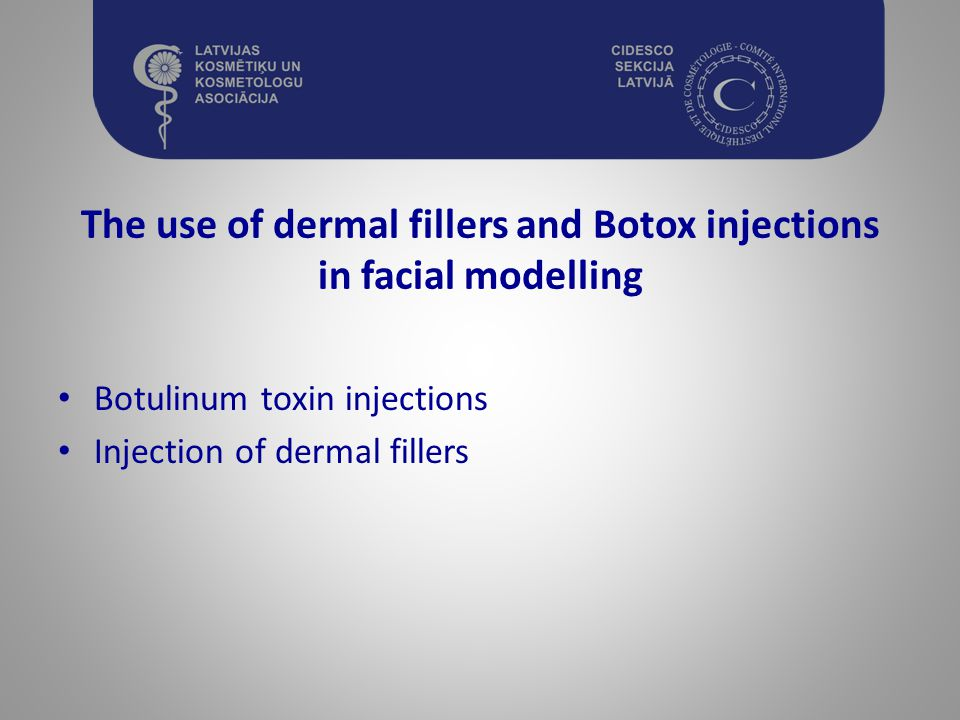 The use of dermal fillers and Botox injections in facial modelling