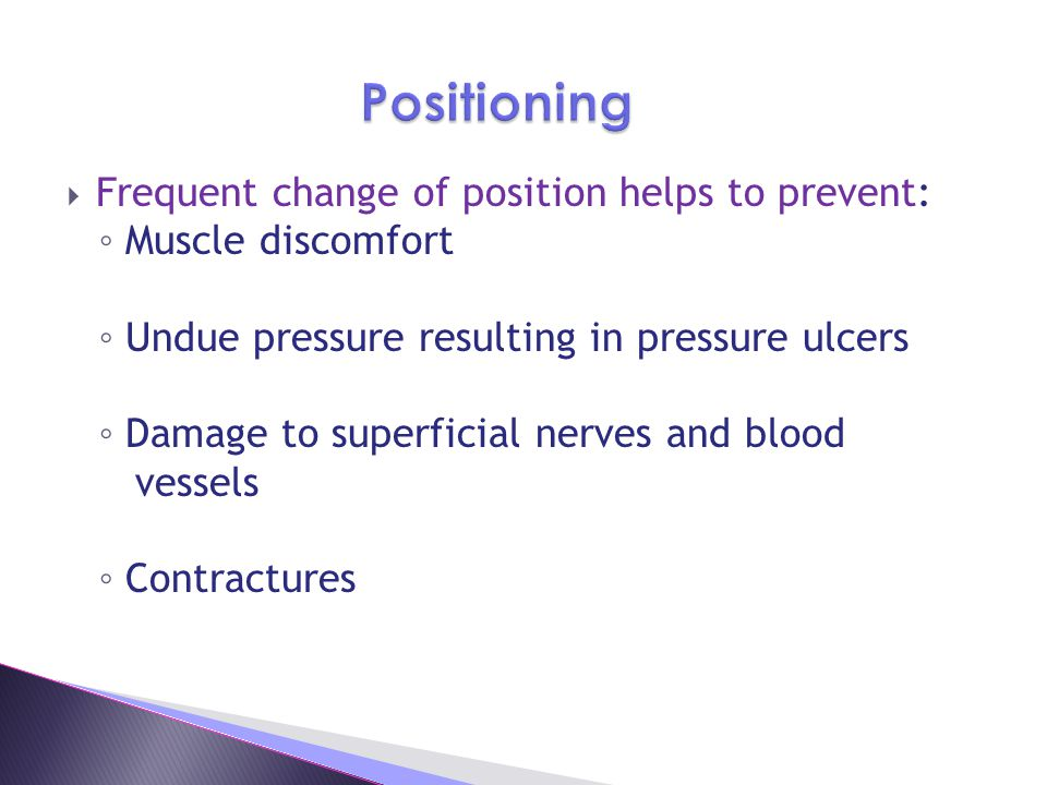 Positioning Frequent change of position helps to prevent: