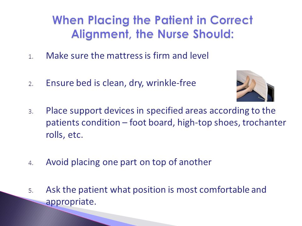 When Placing the Patient in Correct Alignment, the Nurse Should: