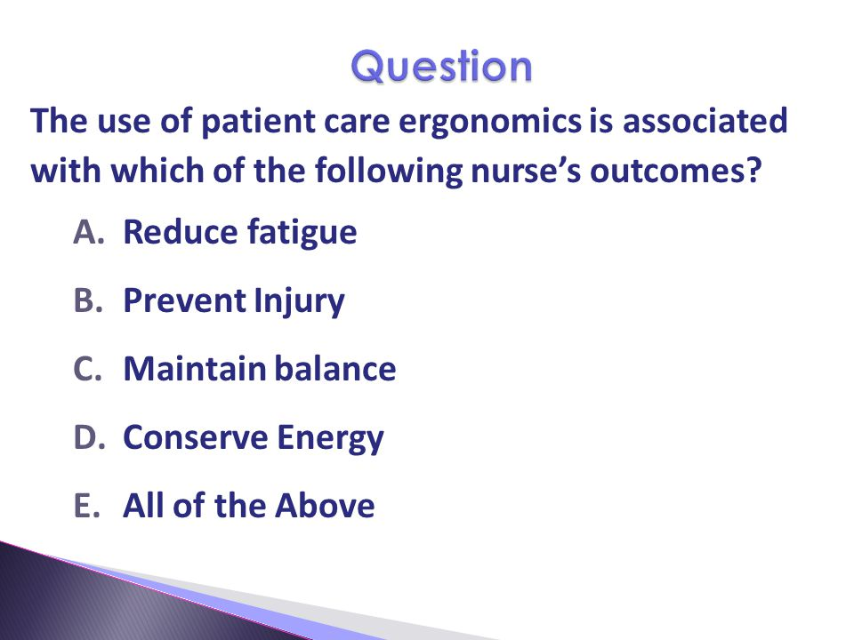 Question The use of patient care ergonomics is associated