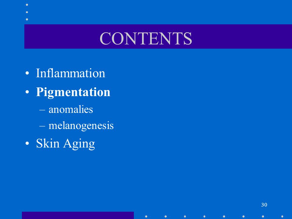 CONTENTS Inflammation Pigmentation anomalies melanogenesis Skin Aging