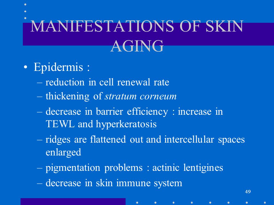 MANIFESTATIONS OF SKIN AGING