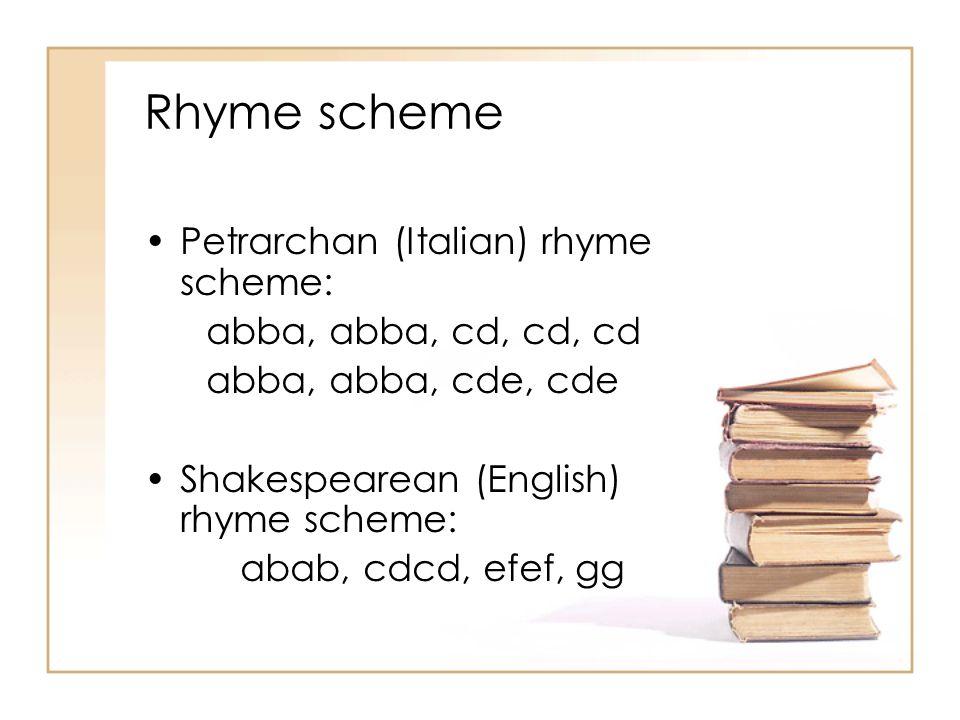 Rhyme scheme Petrarchan (Italian) rhyme scheme: abba, abba, cd, cd, cd