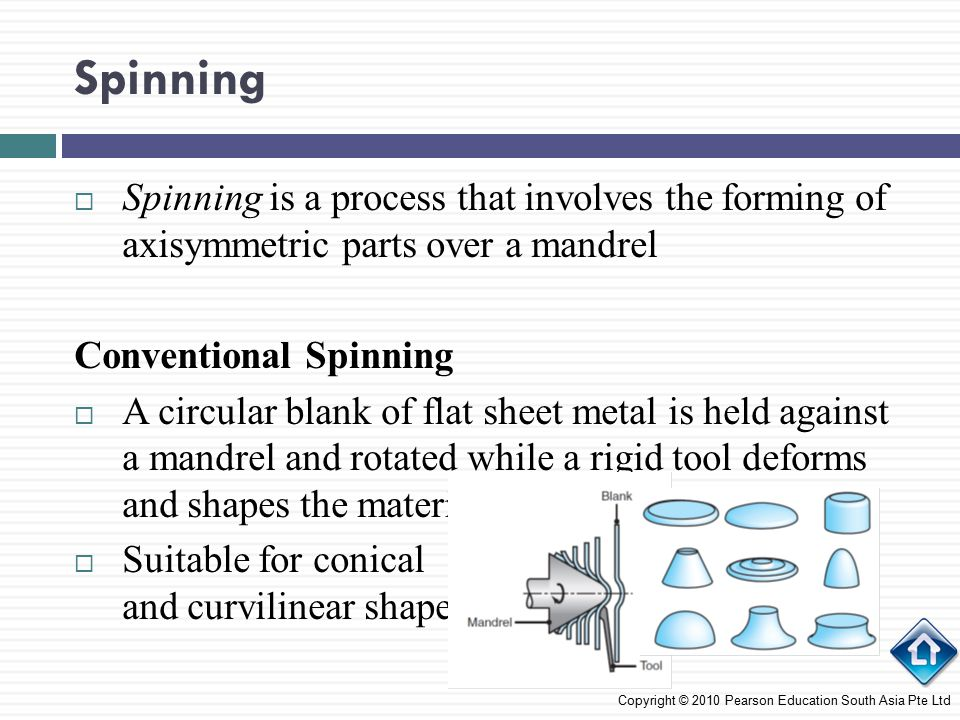 Spinning Spinning is a process that involves the forming of axisymmetric parts over a mandrel. Conventional Spinning.