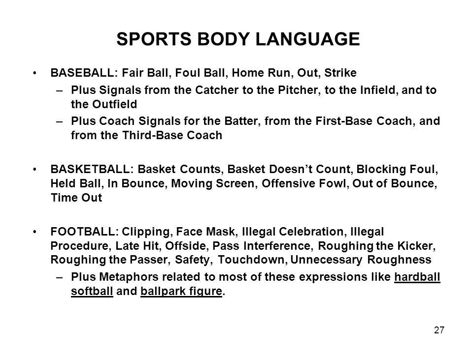 SPORTS BODY LANGUAGE BASEBALL: Fair Ball, Foul Ball, Home Run, Out, Strike.