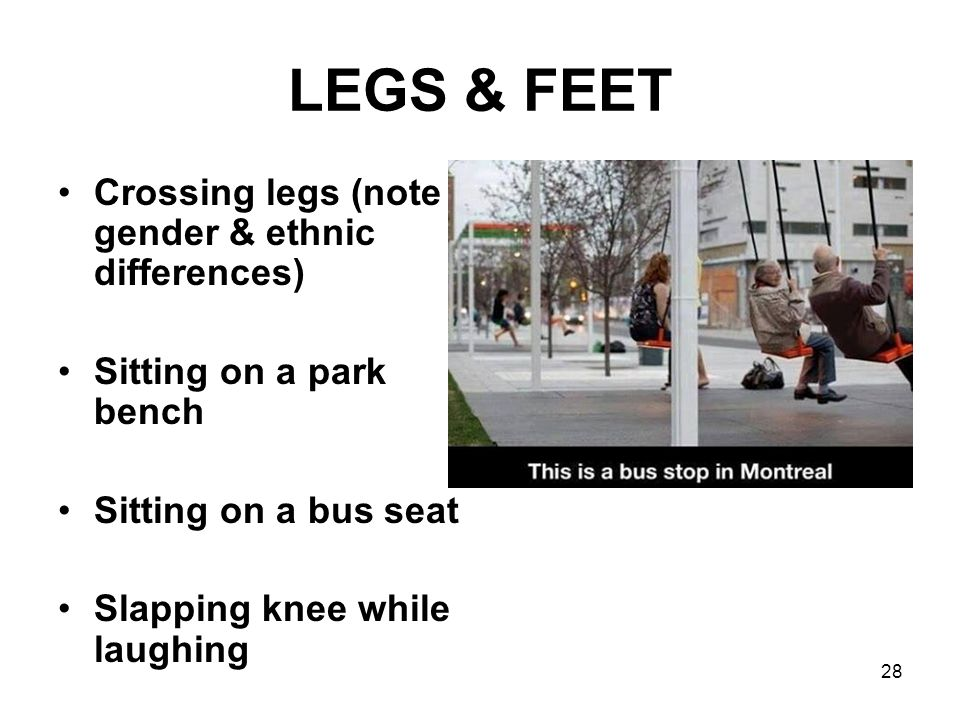 LEGS & FEET Crossing legs (note gender & ethnic differences)