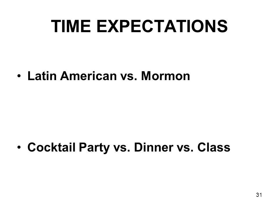 TIME EXPECTATIONS Latin American vs. Mormon