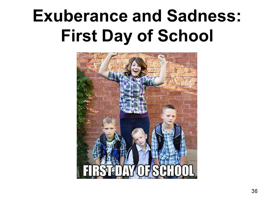 Exuberance and Sadness: First Day of School