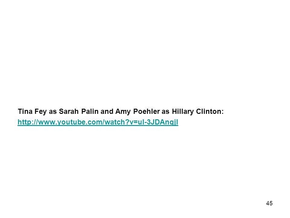 Tina Fey as Sarah Palin and Amy Poehler as Hillary Clinton: http://www