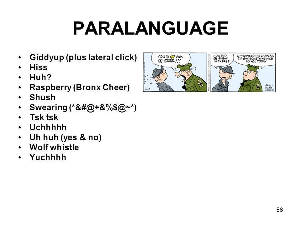 PARALANGUAGE Giddyup (plus lateral click) Hiss Huh