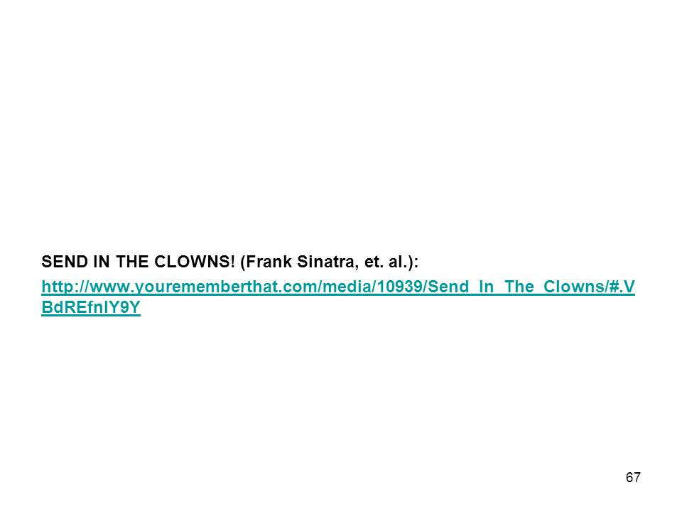SEND IN THE CLOWNS! (Frank Sinatra, et. al.):