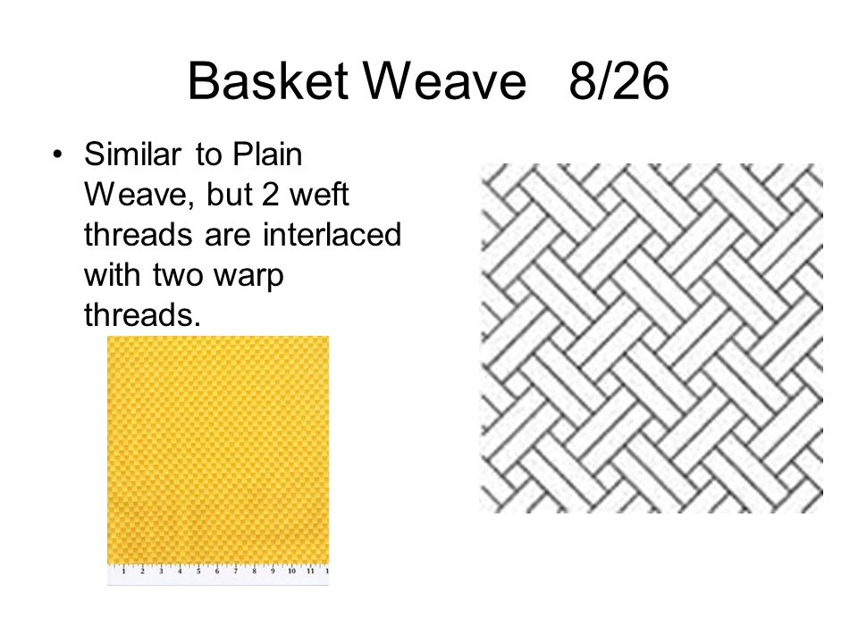 Basket Weave 8/26 Similar to Plain Weave, but 2 weft threads are interlaced with two warp threads.