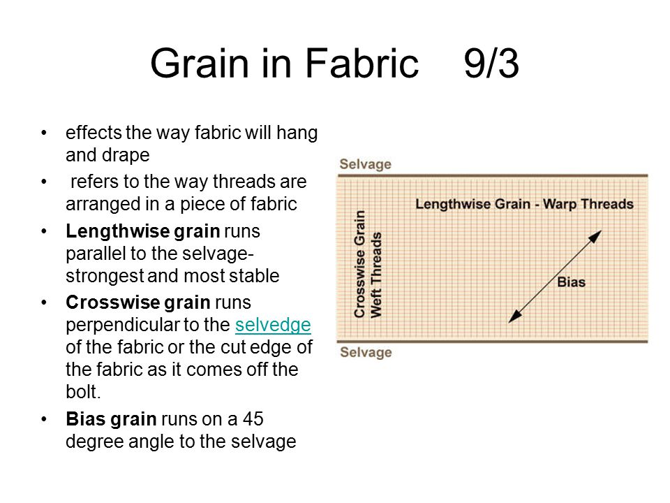 Grain in Fabric 9/3 effects the way fabric will hang and drape