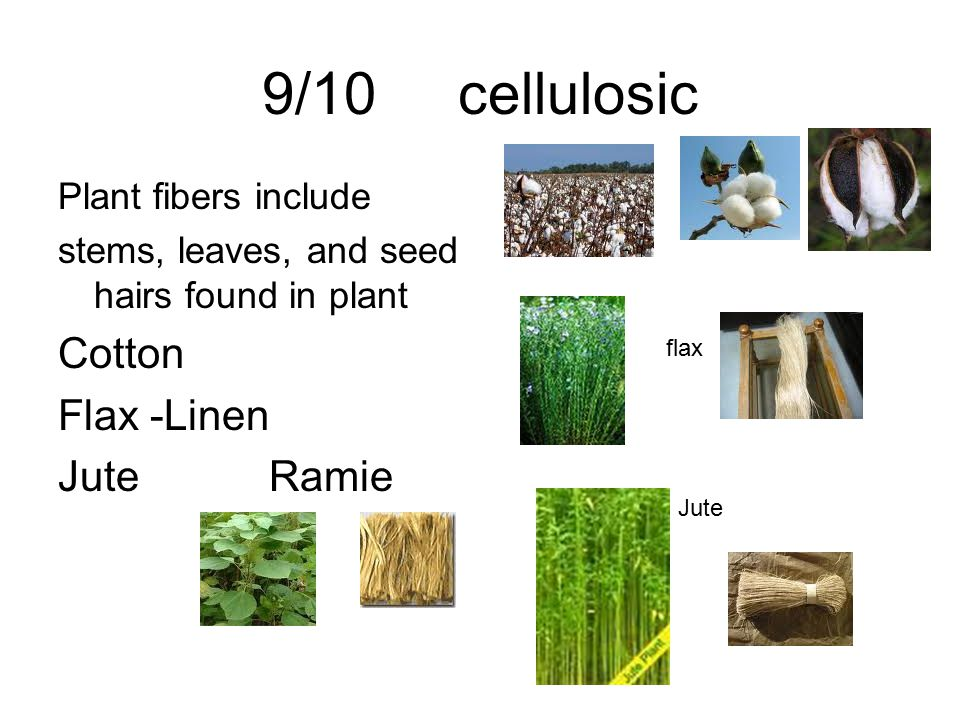 9/10 cellulosic Cotton Flax -Linen Jute Ramie Plant fibers include