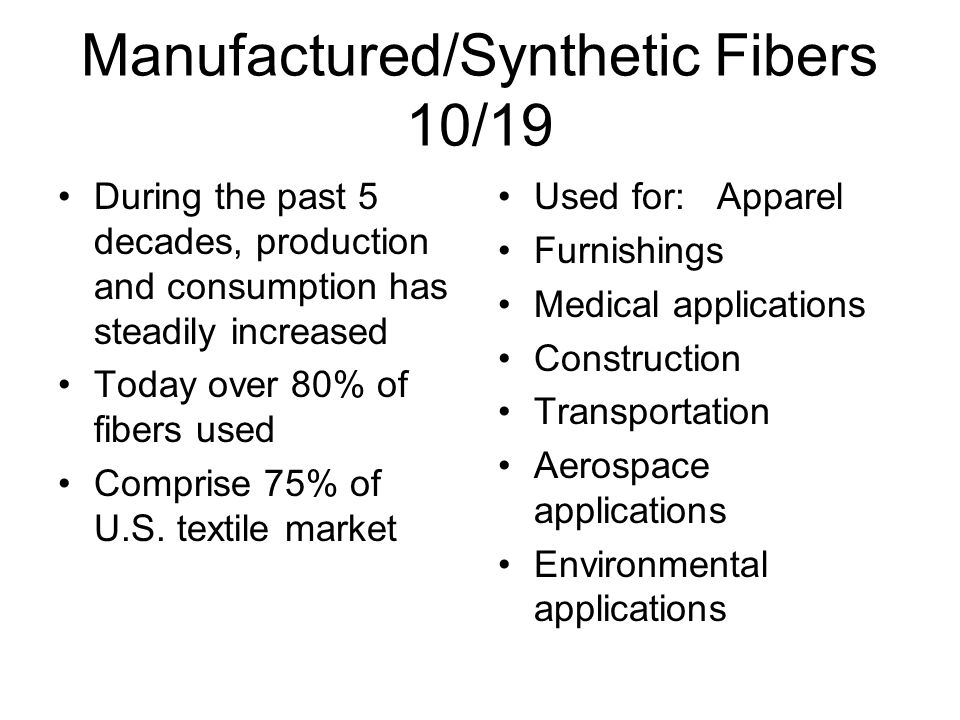 Manufactured/Synthetic Fibers 10/19