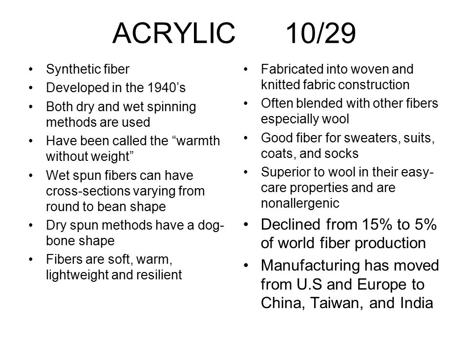 ACRYLIC 10/29 Declined from 15% to 5% of world fiber production