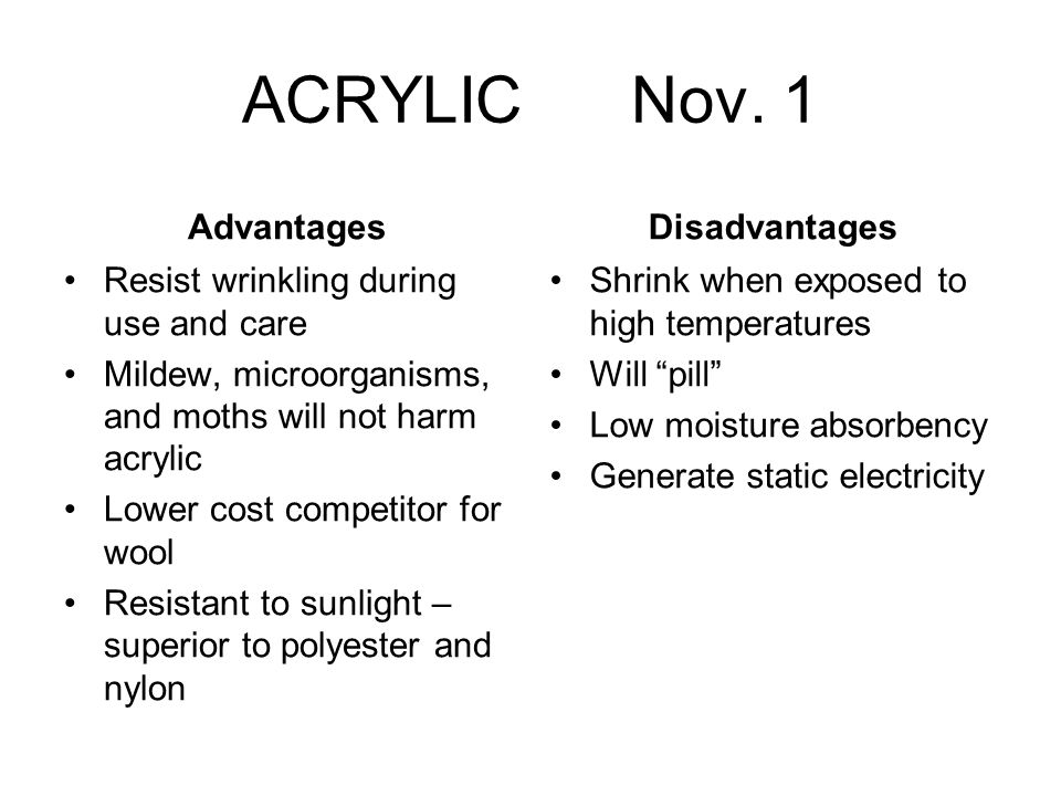 ACRYLIC Nov. 1 Advantages Disadvantages