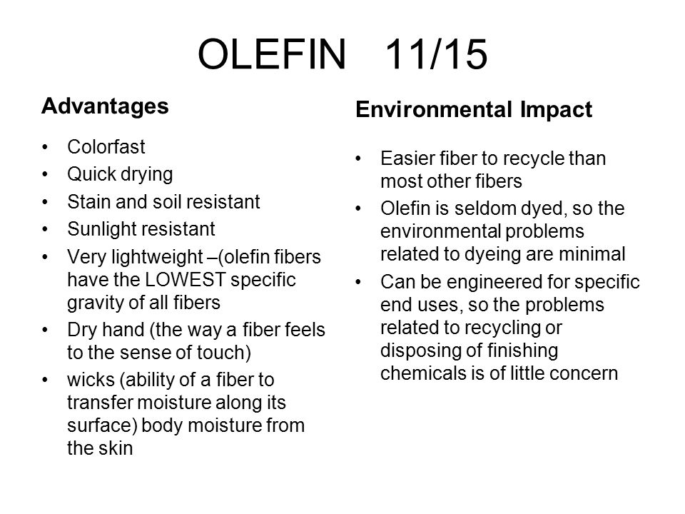 OLEFIN 11/15 Advantages Environmental Impact Colorfast Quick drying
