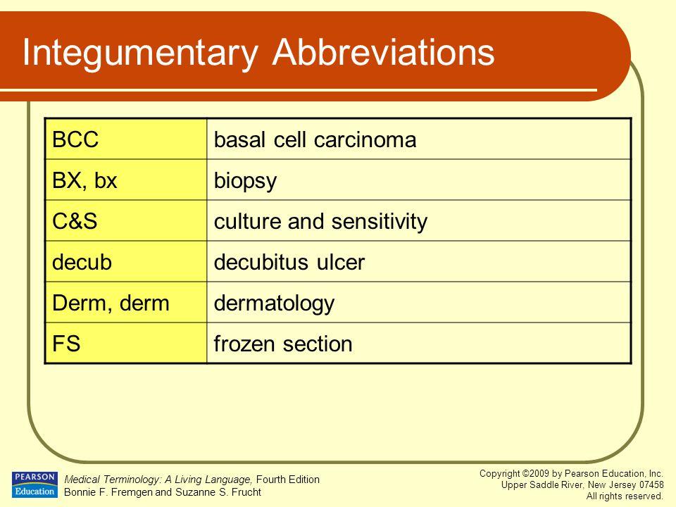 Integumentary Abbreviations