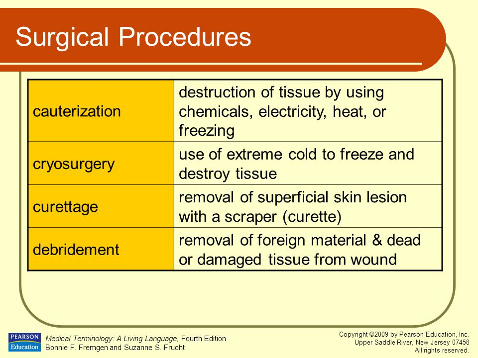 Surgical Procedures cauterization. destruction of tissue by using chemicals, electricity, heat, or freezing.