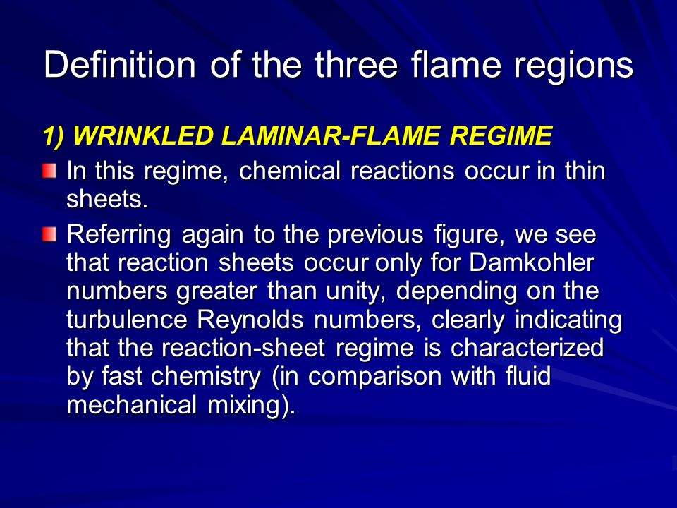 Definition of the three flame regions