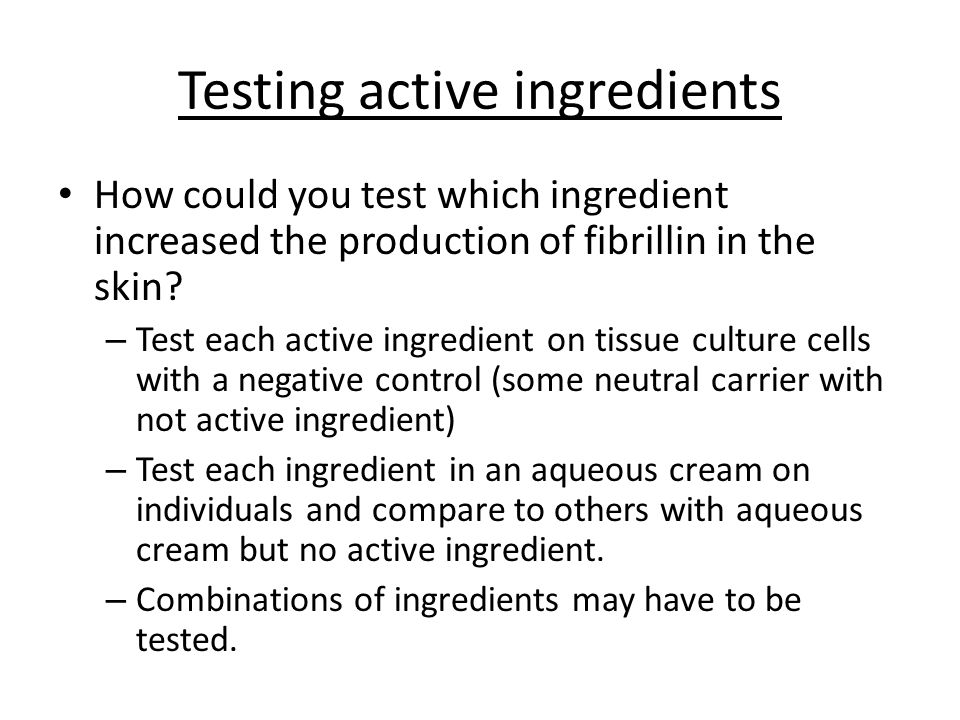 Testing active ingredients