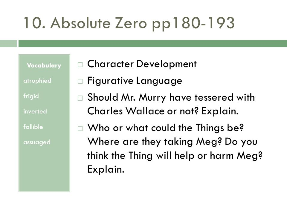 10. Absolute Zero pp180-193 Character Development Figurative Language
