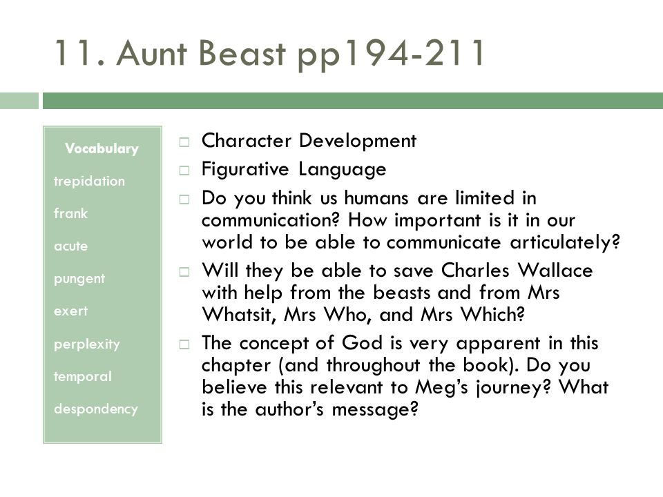 11. Aunt Beast pp194-211 Character Development Figurative Language