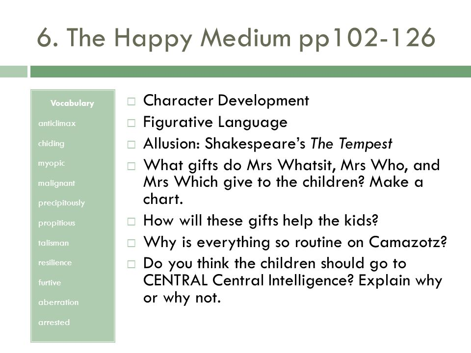 6. The Happy Medium pp102-126 Character Development