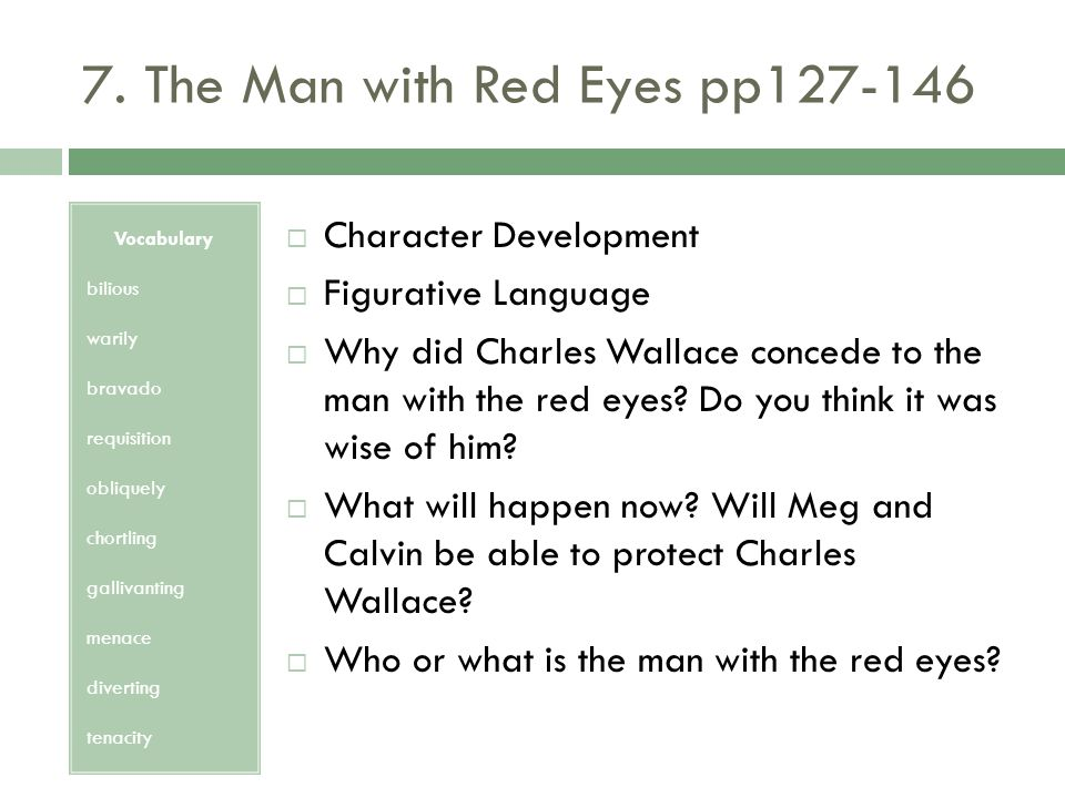 7. The Man with Red Eyes pp127-146