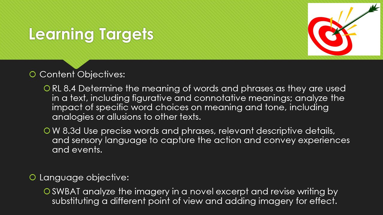 Learning Targets Content Objectives: