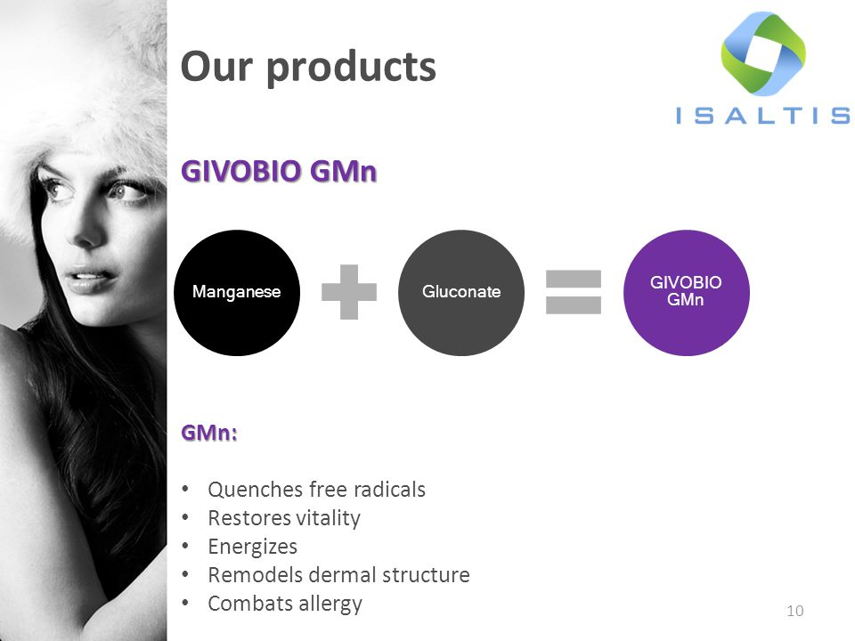 Our products GIVOBIO GMn GMn: Quenches free radicals Restores vitality