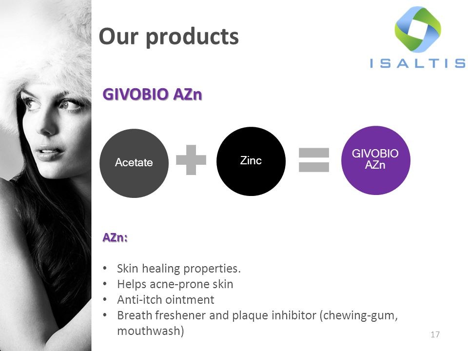 Our products GIVOBIO AZn AZn: Skin healing properties.