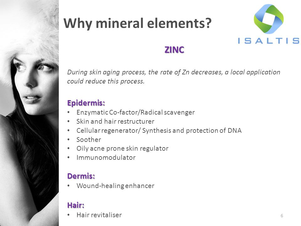 Why mineral elements ZINC Epidermis: Dermis: Hair: