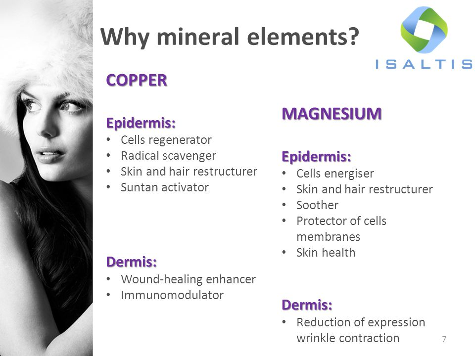 Why mineral elements COPPER MAGNESIUM Epidermis: Epidermis: Dermis: