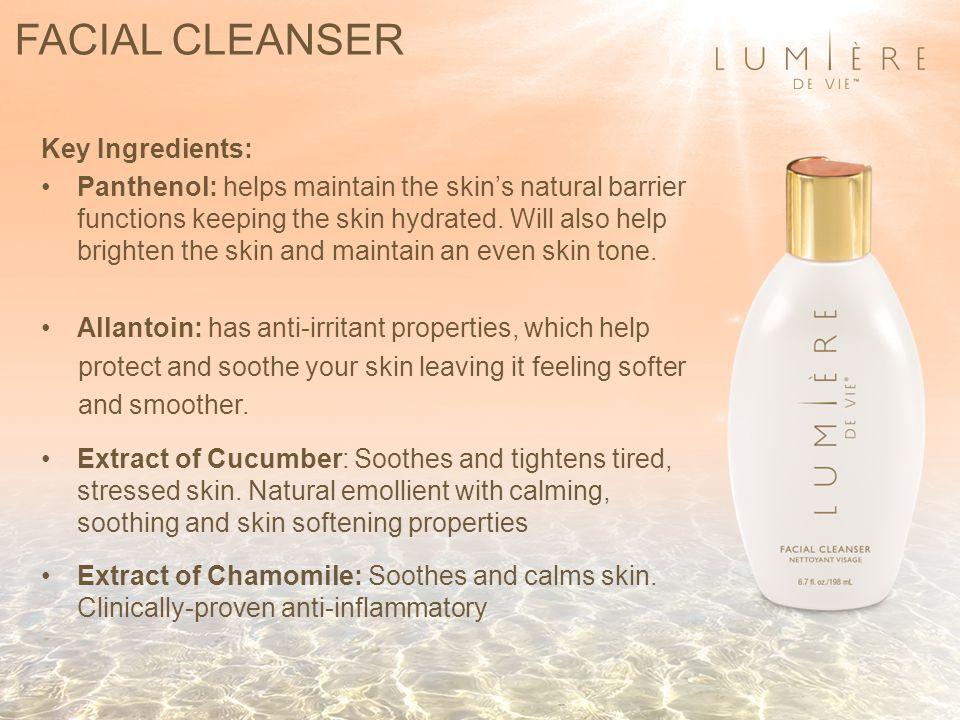 FACIAL CLEANSER Key Ingredients: