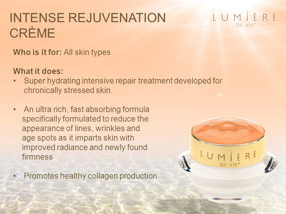 INTENSE REJUVENATION CRÈME Who is it for: All skin types What it does: