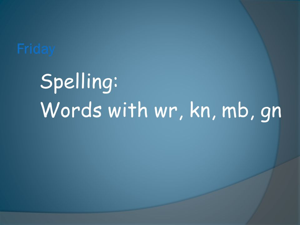 Spelling: Words with wr, kn, mb, gn