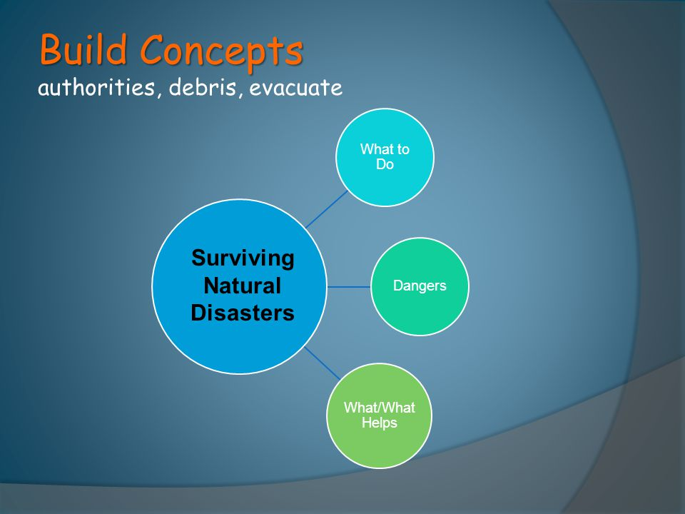 Build Concepts authorities, debris, evacuate