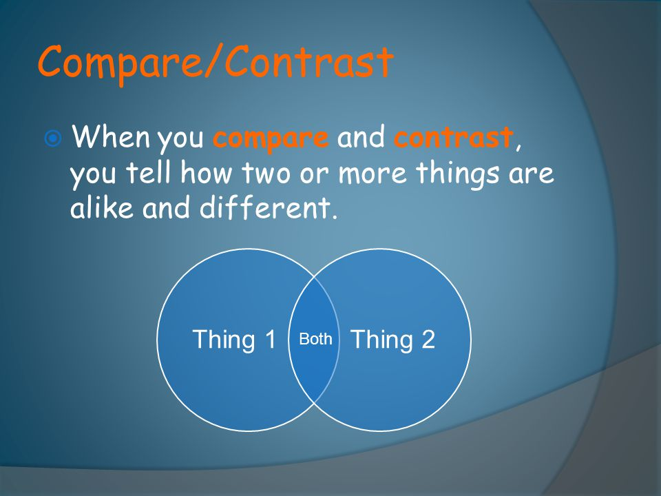 Compare/Contrast When you compare and contrast, you tell how two or more things are alike and different.