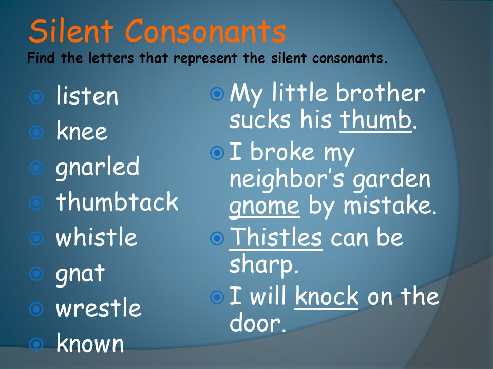 Silent Consonants Find the letters that represent the silent consonants.