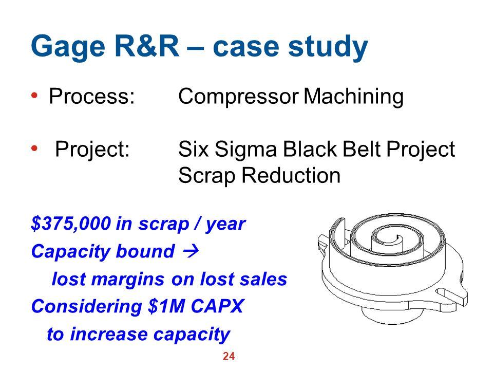 Gage R&R – case study Process: Compressor Machining