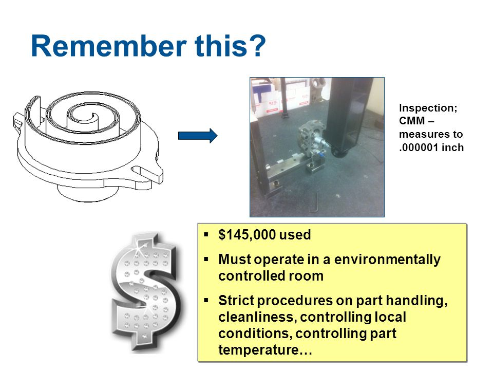 Remember this Inspection; CMM – measures to. .000001 inch. $145,000 used. Must operate in a environmentally controlled room.