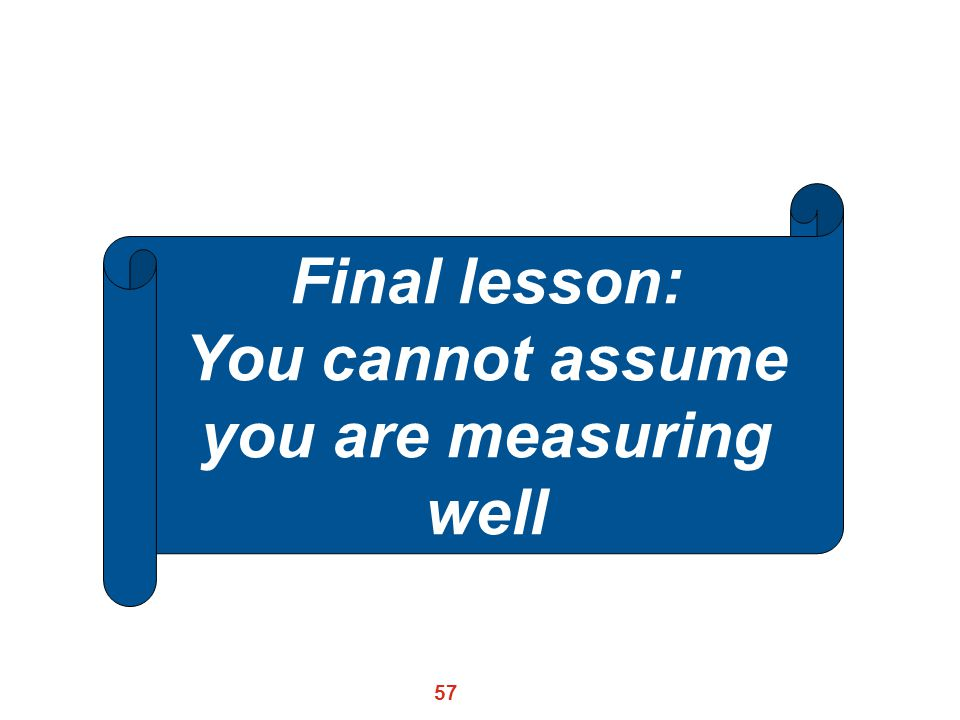 You cannot assume you are measuring well