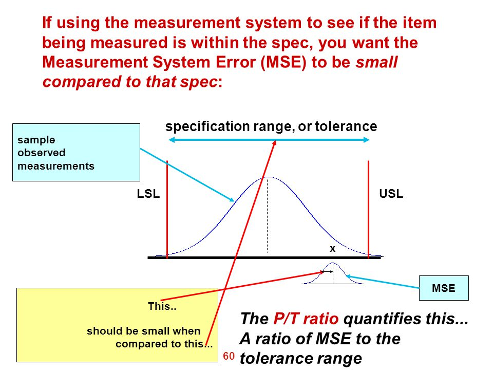 The P/T ratio quantifies this... A ratio of MSE to the tolerance range