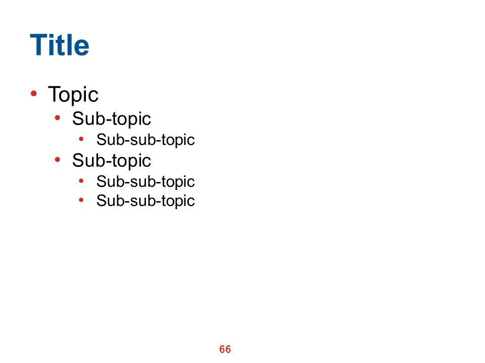 Title Topic Sub-topic Sub-sub-topic