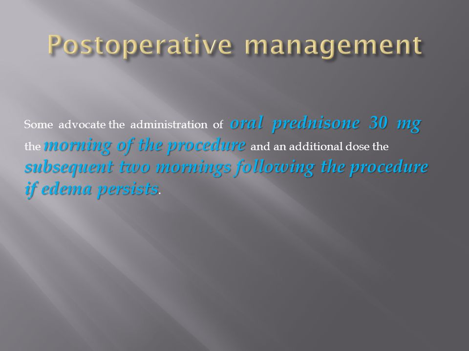 Postoperative management