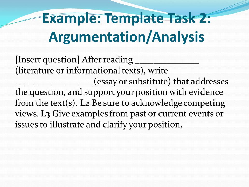 Example: Template Task 2: Argumentation/Analysis