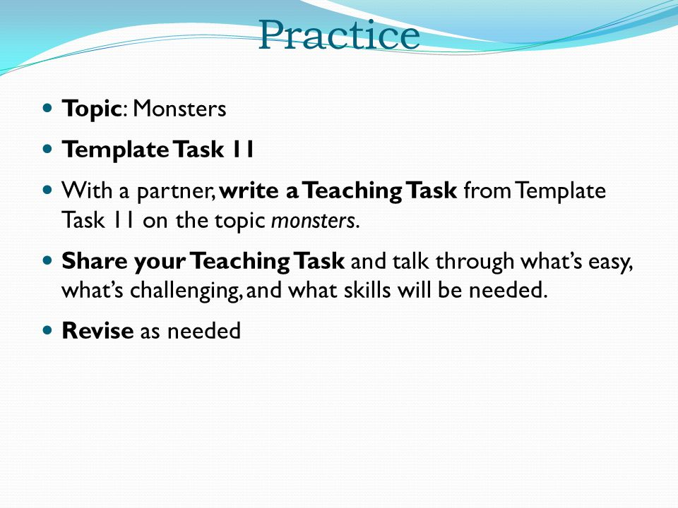 Practice Topic: Monsters Template Task 11