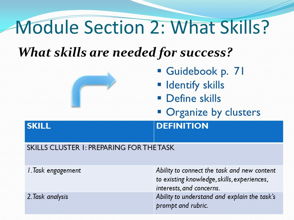 Module Section 2: What Skills